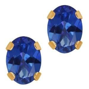 1.90 Ct Sapphire Blue Mystic Topaz 14K Yellow Gold 4 prong