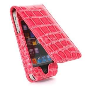 NEW PINK CROCO LEATHER FLIP CASE FOR APPLE iPHONE 4 4G Electronics