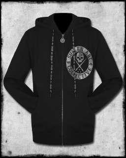 SULLEN CLOTHING BADGE OF HONOR MENS BLACK GREY TATTOO GOTH ZIP HOODIE
