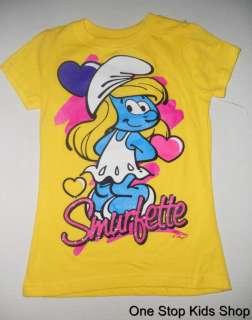 SMURFETTE Girls 4 5 6 6X 7 8 10 12 14 16 Short Sleeve SHIRT Top THE