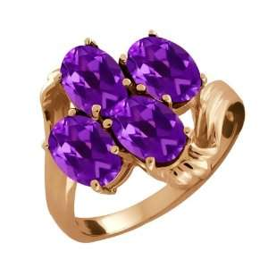 3.00 Ct Oval Purple Amethyst 14k Rose Gold Ring Jewelry