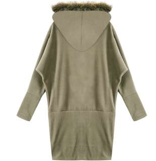 Faux Fur Hoodie Oversized Kimono Sleeve Zip Up Dress Tunic Top