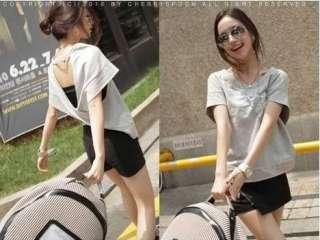 Fashion Sexy Backless Womens Back Cross LOOSE Casual T Shirt T Shirts