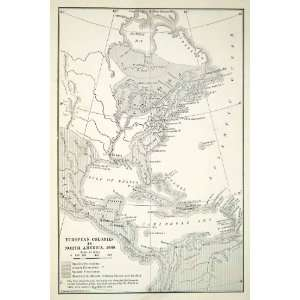 1918 Print Map opean Colonies North America Atlantic Ocean Canada