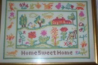 Vintage Framed HOME SWEET HOME Cross Stitch SAMPLER COMPLETED Finished