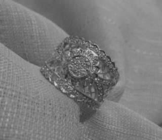 14k yellow gold wide .57ct diamond pave flower band size 7