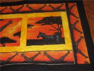 Handcrafted quilted Table Runner Safari Animals Wildlife