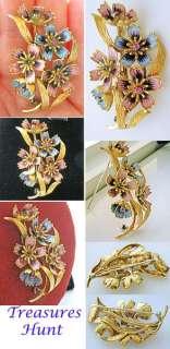 LARGE RETRO 18K GOLD DIAMOND RUBY ENAMEL FLOWERS BROOCH