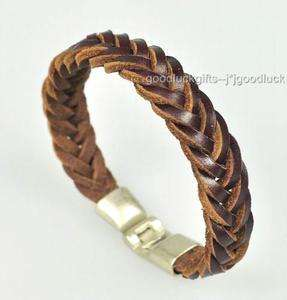 Cool R&B genuine Leather Braidrd Bracelet Wristband 01