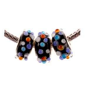 Murano Style Glass Lampwork Bump Bead Fits Pandora Black with Lt Blue
