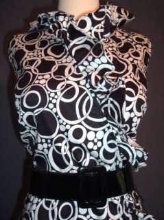 Vtg 50s 60s Style Mod Retro GoGo Dress Ruffle Collar Pinup Rockabilly