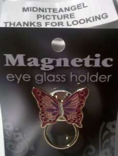 RED PINK PURPLE BUTTERFLY MAGNETIC EYE GLASS HOLDER