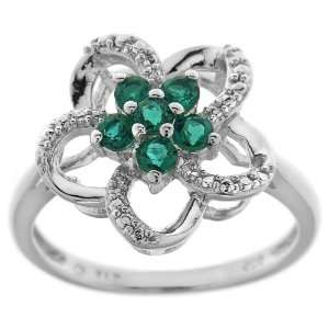 Sterling Silver Lab Created Emerald and Cubic Zirconia Flower Ring
