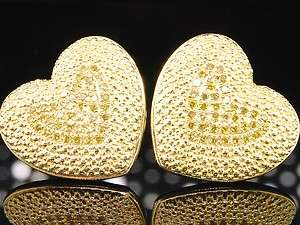 YELLOW GOLD FINISH 0.33 CT DIAMOND STUDS EARRINGS HEART SHAPED LOVE
