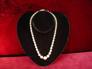 Antique 1930s OPALESCENT STONE And CRYSTAL BEAD NECKLACE Costume
