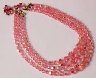 Vintage Pink Aurora Borealis Triple Strand Crystal Necklace w