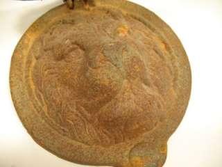 Antique Victorian Cast Iron Lion Head Door Knocker Ring