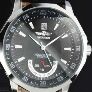 NEW MENS BLACK AUTO MECHANICAL LEATHER WATCH HOT STYLE