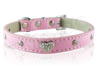 11 14 pink leather crystal heart dog collar small M