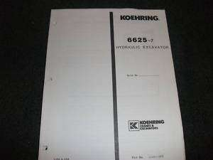 Koehring 6625 7 hydraulic excavator parts manual