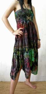 HIPPIE halter dress, TIE DYED, SMOCKED bust *S M