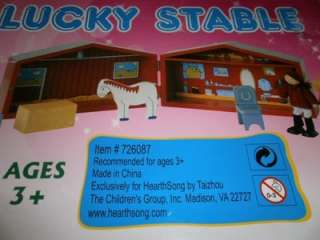 NEW Lucky Star Stable 7 pc. Wood Set Dolls Horse House Barn Toy