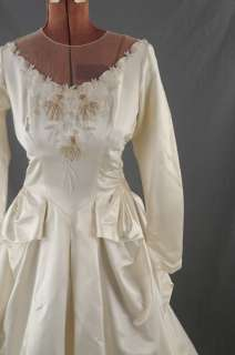 VINTAGE 40s Satin Beaded BUSTLE Couture Wedding Dress S