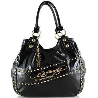 Ed Hardy Selena Patent Leather Hobo Bag   Black