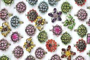5X Wholesale jewelry lots handcraft Rhinestone Flower adjustable