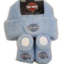 Harley Davidson Infant Baby Boys Cap Hat & Booties Gift Set Apparel