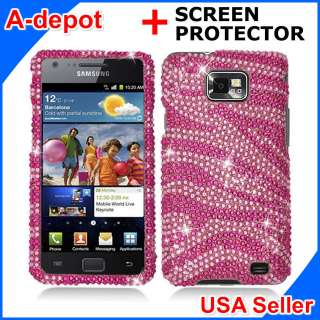 Samsung Galaxy S 2 II i9100 Pink Zebra Bling Hard Case Cover +Screen