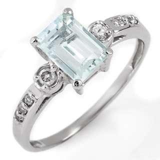 Genuine 1.20 ctw Aquamarine & Diamond Ring 10K Gold