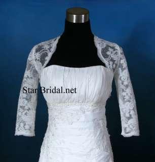Sleeve Ivory Lace Wedding Bridal Bolero Jacket Shrug S, M, L, XL