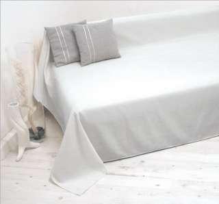Tagesdecke Plaid Überwurf Sofaüberwurf weiss 210x280cm
