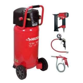 Husky12 Gallon Portable Electric Air Compressor and 2 in 1 Brad Nailer