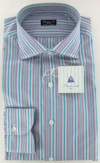 New $425 Finamore Napoli Lavender Purple Shirt 16/41