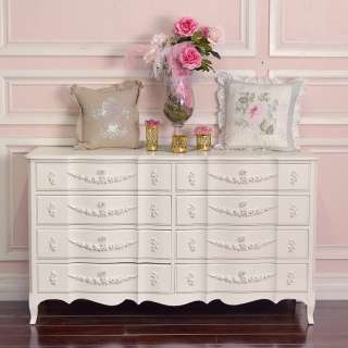 Shabby Cottage Chic 8 Drawer Dresser French Vintage Style Roses