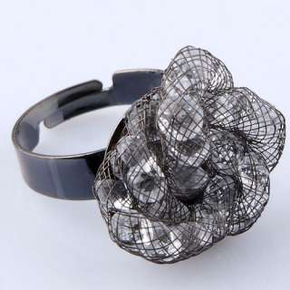 black alloy finger ring twisted mesh w/ crystal chip bead adjustable