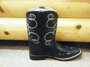 New Ladies Roper Black Ostrich Print Bling Boots