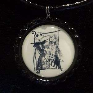 Nightmare Before Christmas Jack & Sally Bottle Cap Necklace