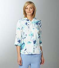 Allison Daley Pucker Floral Print Camp Shirt $22.80