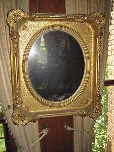 Antique Victorian Gold Leaf Gesso Mirror 21x19