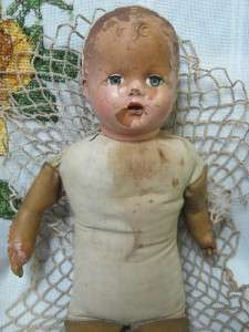 VINTAGE 19 UNMARKED CLOTH/COMPOSITION/LATEX DOLL