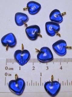 100 SAPPHIRE GLASS HEART BEADS CHARMS 10mm x 10mm + 4mm Loop ~ Deep