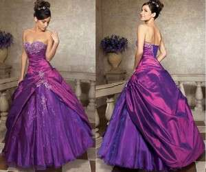 INSTOCK Purple Sweetheart A line pageant long evening dress prom gown