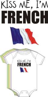 Kiss Me Im French Cute Funny Baby Boy Girl Clothes