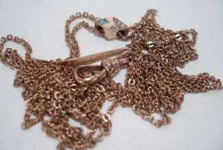 ANTIQUE ROSE GOLD FILL 50 INCH WATCH CHAIN & SOLID 10K GOLD OPAL PEARL