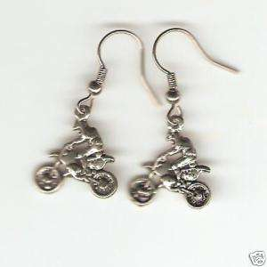 DIRT BIKE MOTOCROSS RIDER EARRINGS   SILVER   RACING