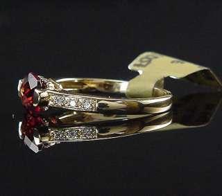 ALLURING NEW CHECKERBOARD GARNET & DIAMOND 14K RING