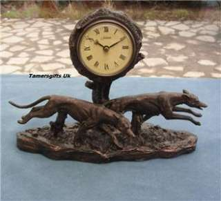 GREYHOUNDS RACING CLOCK COLD CAST BRONZE BIRTHDAY GIFT